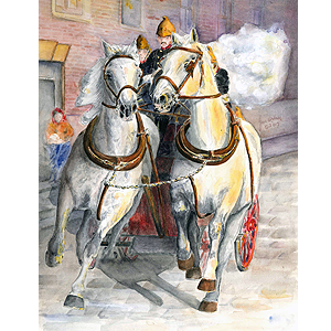 Even in the face of danger horse drawn fire engine original artwork by Jan Irving