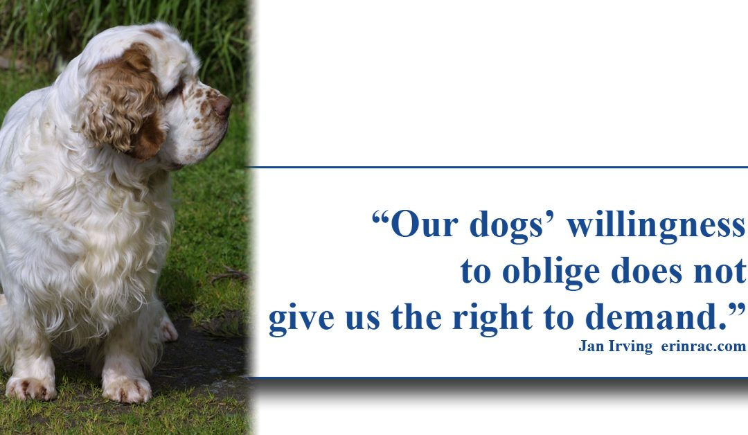 Our dogs willingness to oblige does not give us the right to demand original quote by Jan Irving